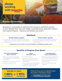 Cover of the Power Generation Brochure From Superior Propane