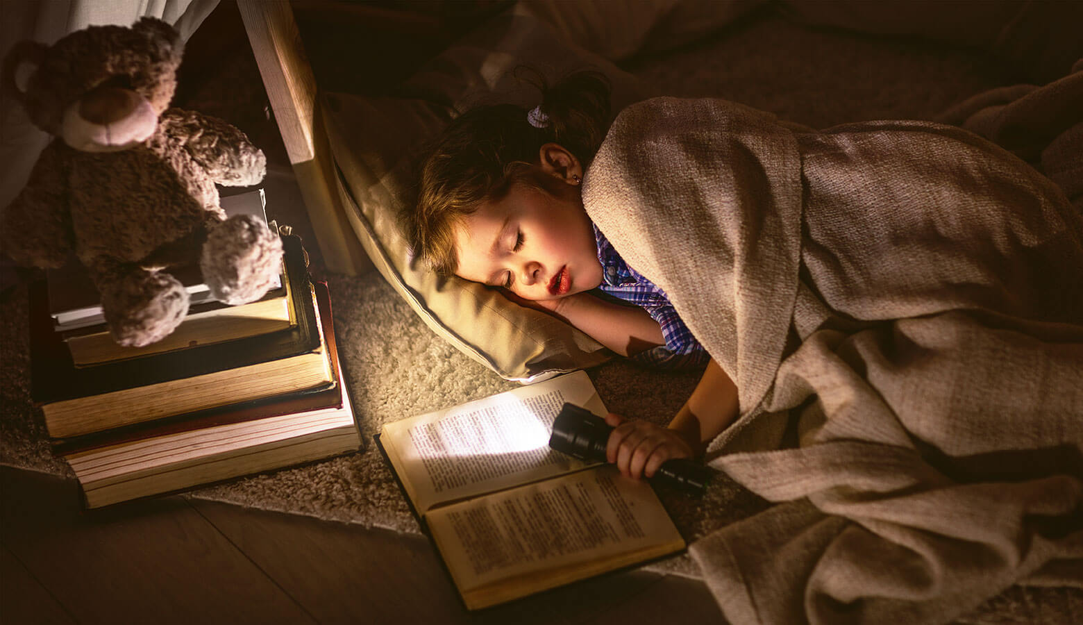 Young boy sleeping in bed holding a flashlight and a book in a home that has a propane powered backup generator.