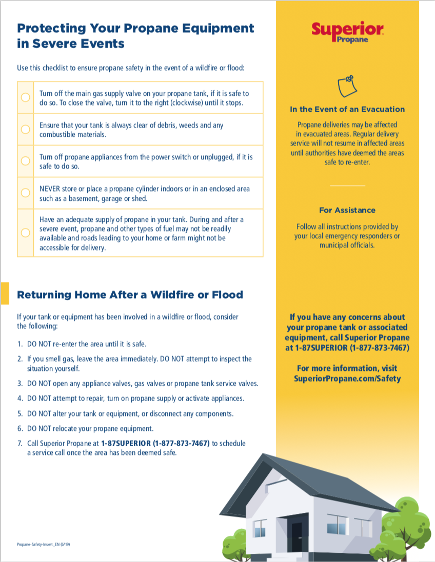 Infographic on preparing your propane equipment for severe weather.