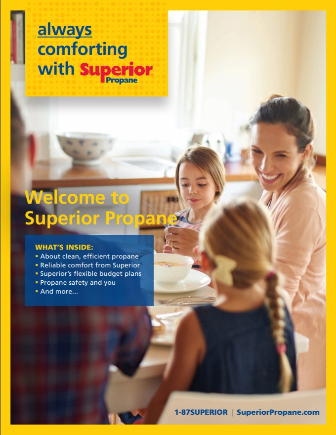 Welcome to Superior Brochure cover image. A family is sitting at a kitchen table smiling.
