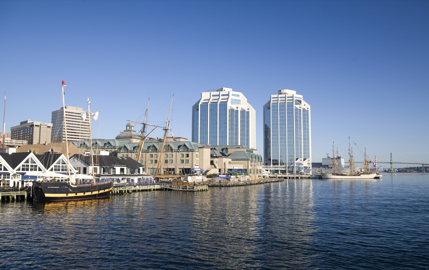 Ship and condos on the waterfront of Halifax.