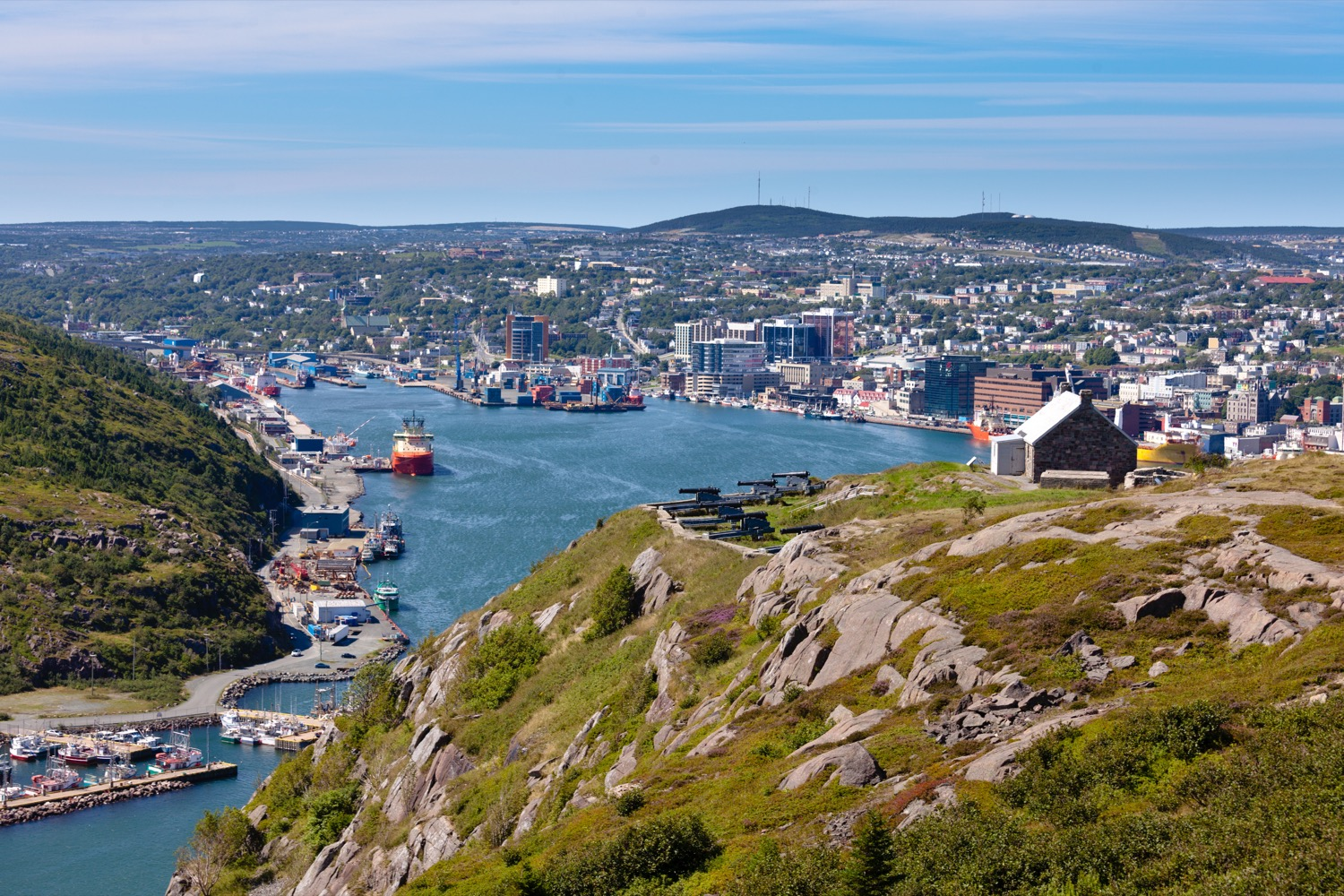 Panoramic view of a city in Newfoundland.