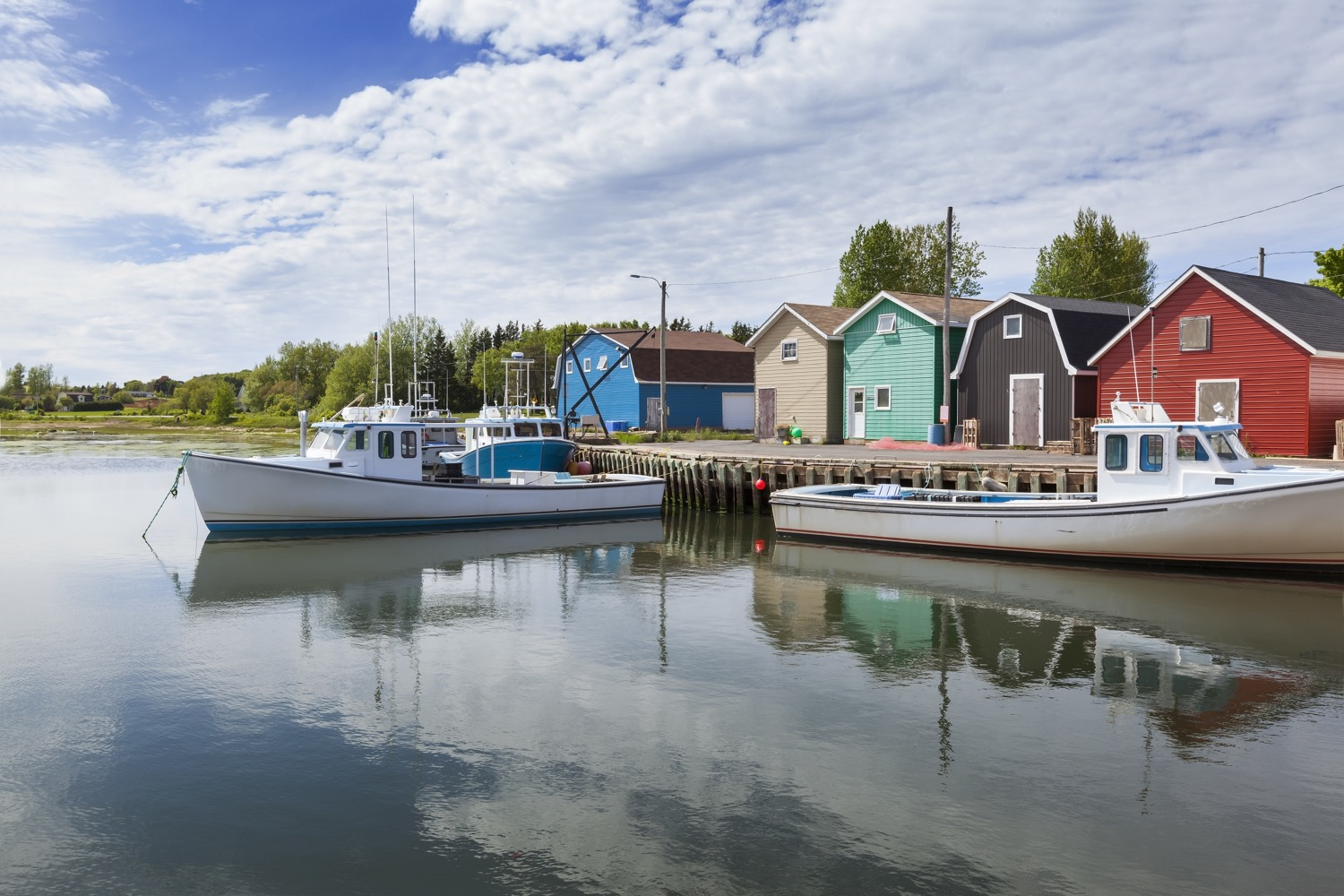 Two small boats in harbour in PEI.