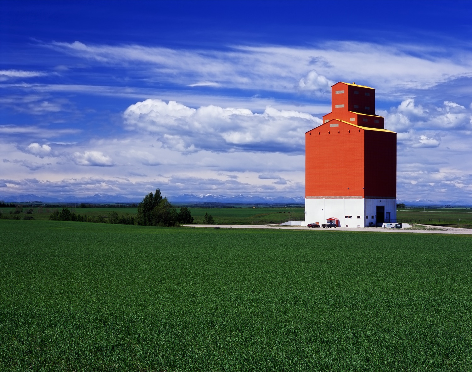 Grain elevator in the middle of the prairies.