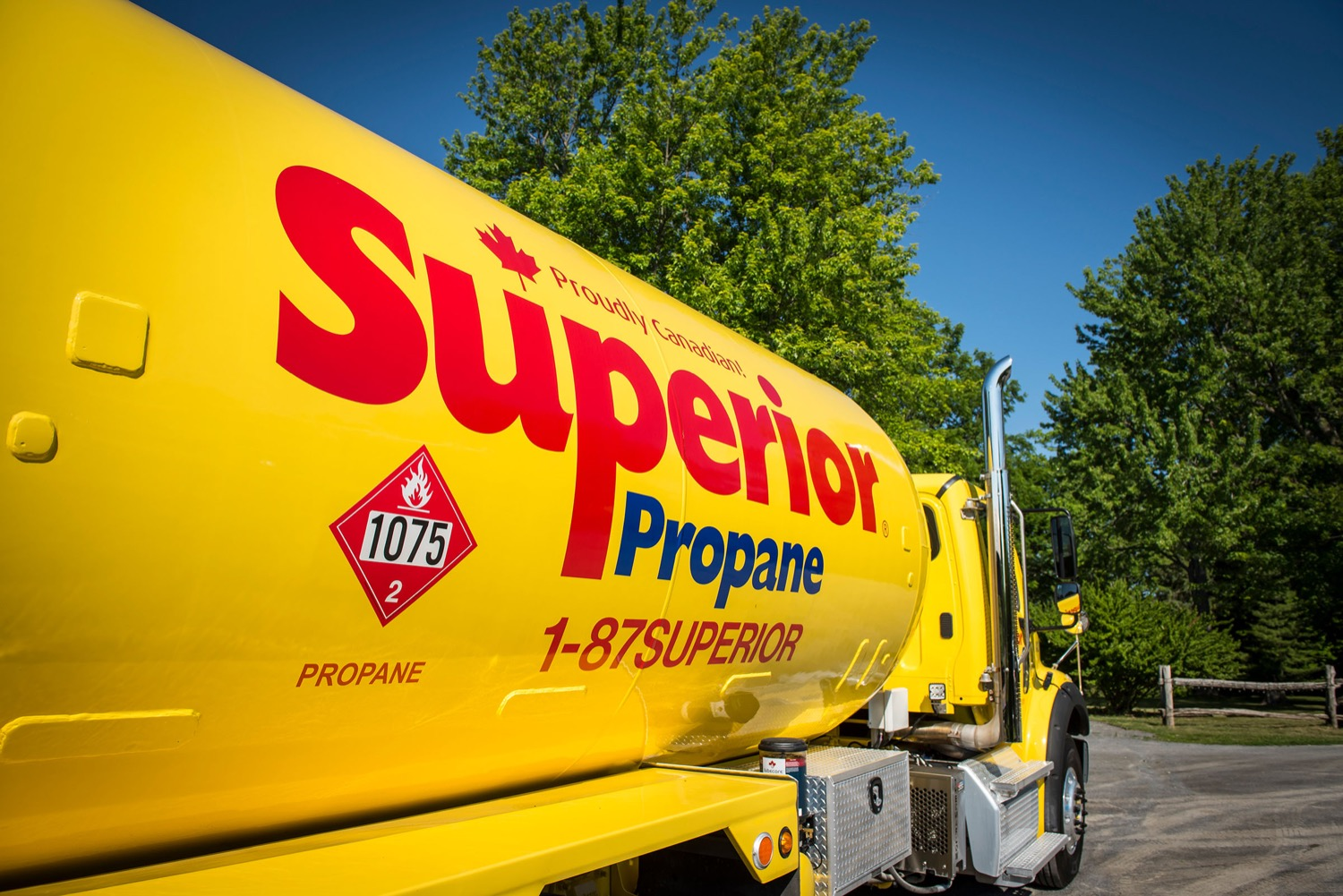 Closeup of the Superior Propane Logo on the side of a refuelling tank truck.