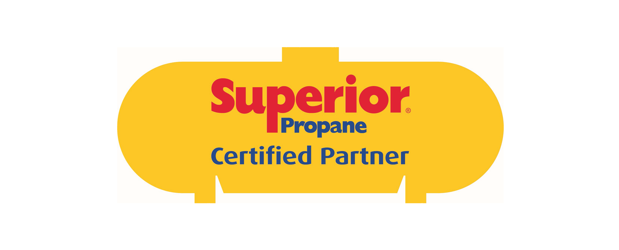 Yellow Propane Tank with Superior Propane Logo to indicate certified partners.